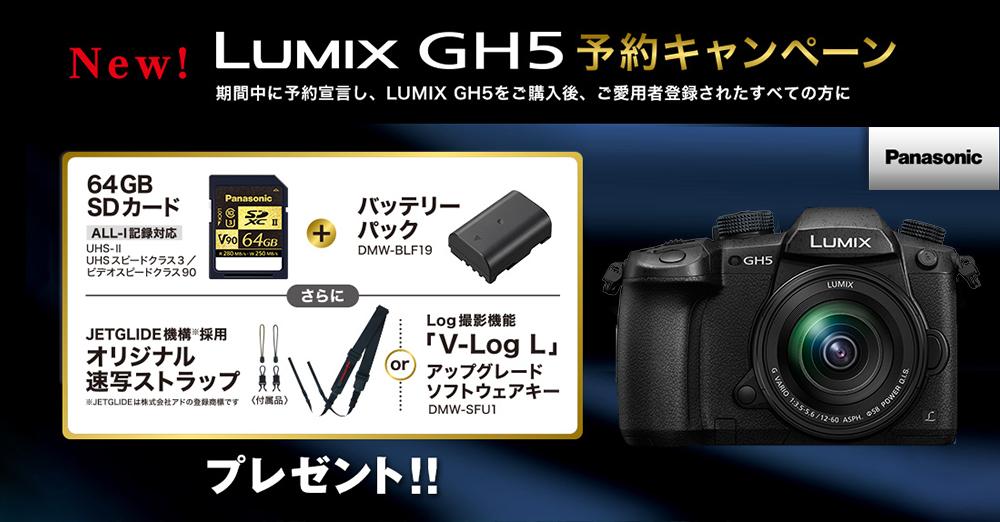 パナソニックLUMIX GH5を予約宣言して購入すると、豪華オプションプレゼント!