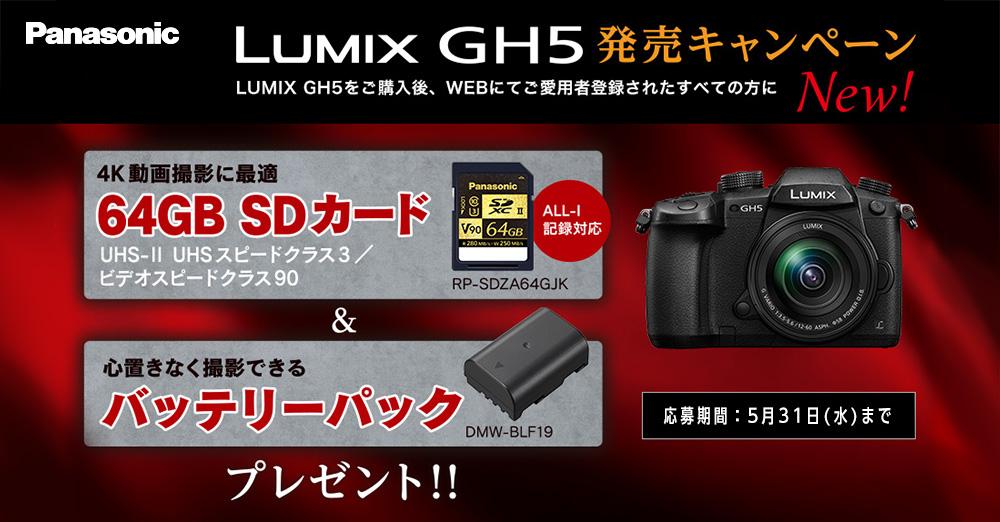パナソニックLUMIX GH5を購入すると、豪華オプションプレゼント!